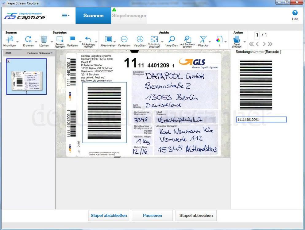 Fujitsu Paperstream Barcodetrennung