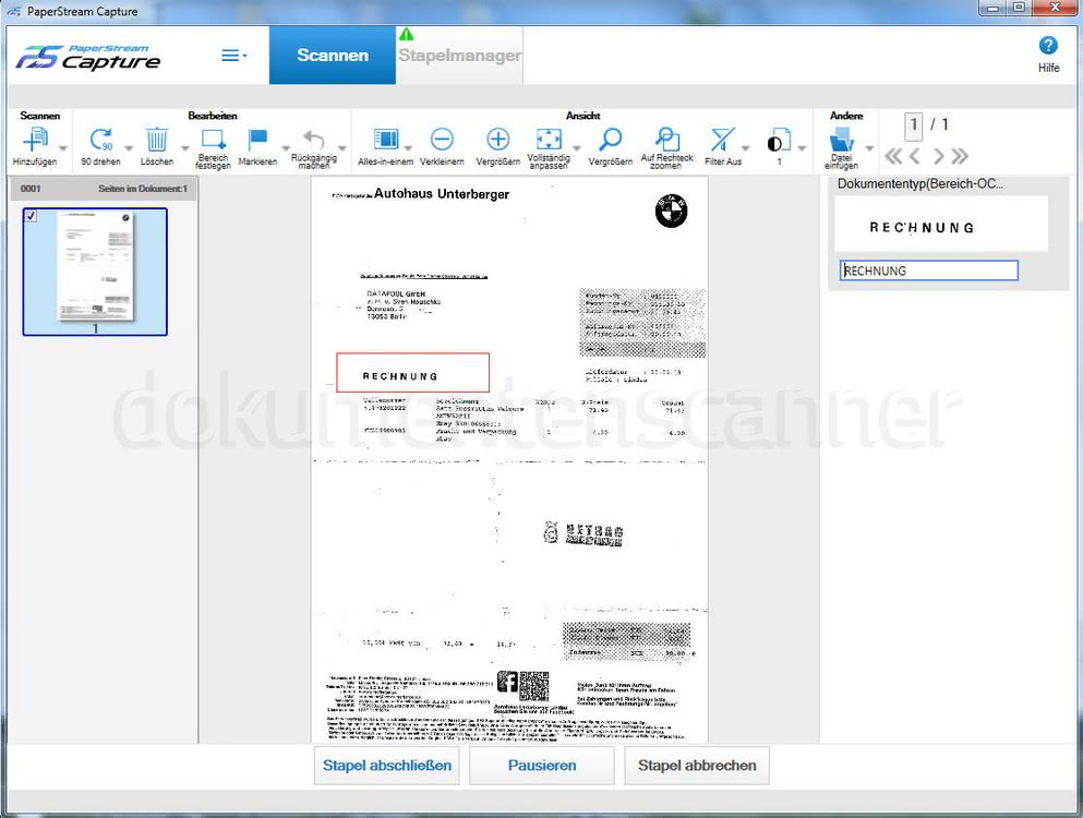 Fujitsu Paperstream Capture OCR Zone