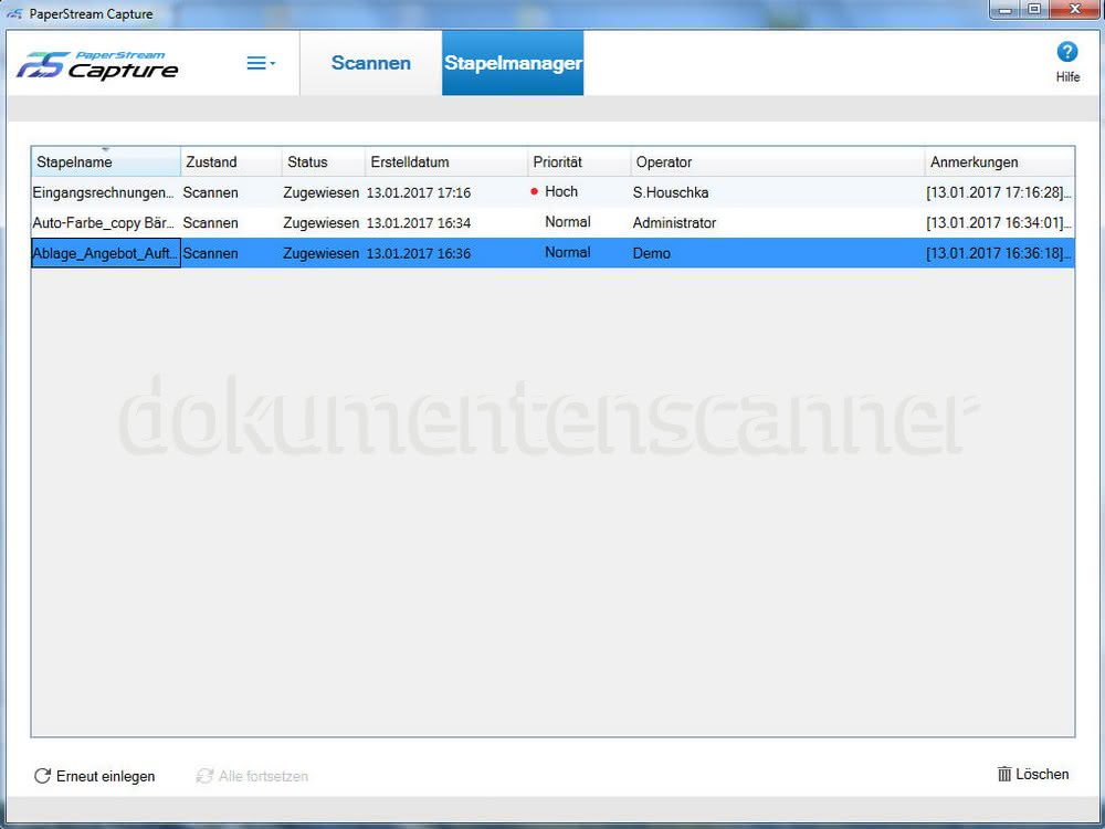Fujitsu Papersteam Capture stapelmanager