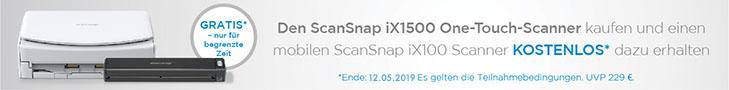 Fujitsu ScanSnap ix1500 Kauf - Gratis Fujitsu ScanSnap iX100 Aktion