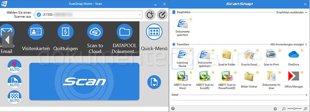 Fujitsu ScanSnap iX1500 Quick Menü